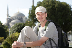 Tourist in Istanbul. Tourist with backpack in Istanbul Stock Image