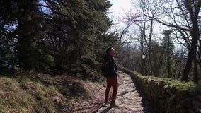 Tourist in jacket wanders along ancient rocky path. Tourist in jacket with backpack wanders along ancient paved with stones path with old streetlight in park stock footage