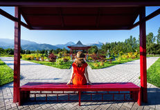 Tourist in Japanese Garden Stock Image