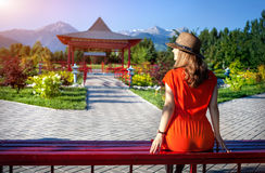 Tourist in Japanese Garden Stock Photos