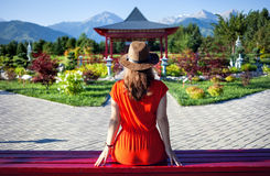 Tourist in Japanese Garden Stock Photography