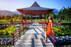 Tourist in Japanese Garden Stock Images