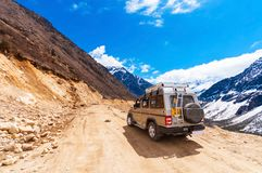 Tourist jeep at Chopta Valley. It is located at 4000 metres above sea leve. SIKKIM, INDIA - APRIL 17: Tourist jeep at Chopta Valley. It is located at 4000 metres royalty free stock images