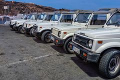 Tourist jeeps parked at Mgarr Gozo royalty free stock photography