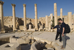 Tourist in Jerash royalty free stock photography