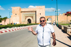 Tourist in a journey in through Morocco. Tourist in a journey through Morocco in a summer Royalty Free Stock Photos