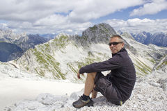 Tourist  in the Julian Alps ia) Stock Photography
