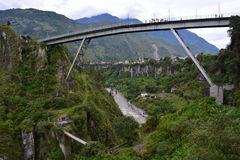 Tourist jumping from a bridge in Baños, Ecuador. Tourist doing bungee jumping from a bridge of Baños, the capital of extreme sports in Ecuador royalty free stock photography