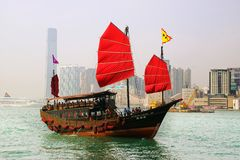 Tourist junk in Victoria harbor. Hong Kong Royalty Free Stock Images