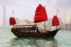 Tourist junk in Victoria harbor. Hong Kong Stock Photos