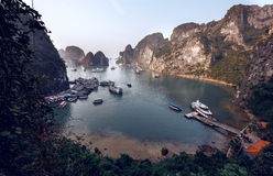 Tourist Junks in Halong Bay Stock Photo