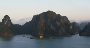 Tourist junks sailing on Halong Bay, Vietnam stock photo
