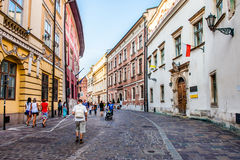 Tourists in Krakow Stock Photo