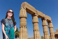 Beautiful girl tourist at Egypt royalty free stock photography