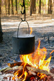 Tourist kettle over camp fire Royalty Free Stock Images