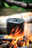 Tourist kettle over fire Stock Photography