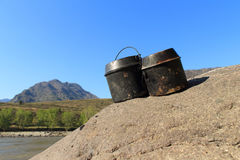 Tourist kettles Royalty Free Stock Photography