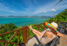 Tourist at Khao Khad View Point Stock Photo