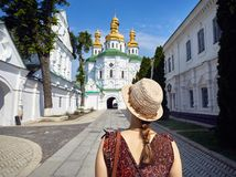 Tourist in Kiew Pechersk Lavra lizenzfreie stockfotos