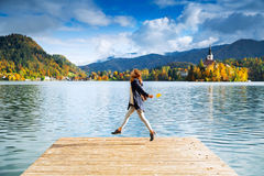 Tourist on the Lake Bled, Slovenia, Europe Royalty Free Stock Images