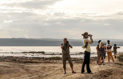 Tourist on lake of kenia Royalty Free Stock Photography