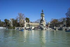 Tourist, Lake in Retiro park, Madrid Spain Royalty Free Stock Photography