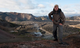 Tourist at Landmannalaugar mountains Stock Images