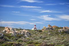 Tourist landmark lighthouse on a hill in the Southern most point of Africa, Cape Agulhas. royalty free stock images