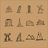 Tourist landmark location icons Stock Image