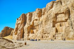 Tourist landmarks in Fars Province, Iran. NAQSH-E RUSTAM, IRAN - OCTOBER 13, 2017: Naqsh-e Rustam Necropolis is the notable architectural ensemble of the ancent royalty free stock photos