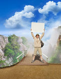 Tourist on a landscape Royalty Free Stock Photos