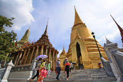 Tourist with Landscape and Pagodas in Wat Phra Kaew Royalty Free Stock Photos