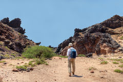 The tourist leaves on stuffed path, Hormuz Island, Hormozgan, Ir Stock Images