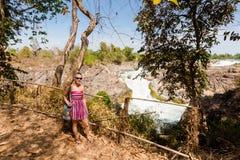 Tourist on Li Phi waterfall Royalty Free Stock Images
