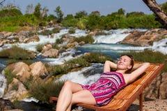 Tourist on Li Phi waterfall Stock Photos