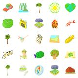 Tourist life icons set, cartoon style Stock Images