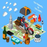 Tourist Lifestyle Isometric Composition. On blue background with motorbike trip, travel landmarks, map, food vector illustration Stock Images