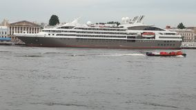 Tourist liner `Astor` on Neva river stock video