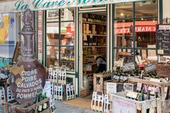 Tourist liquor store in historic city of Honfleur, France Stock Photography