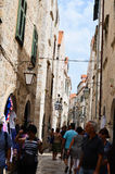 Tourist in Little tipical  street in the old town of Dubrovnik Stock Image