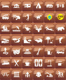 Tourist locations icon set Stock Photography