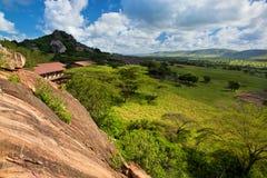 Tourist lodgy on savanna in Tanzania, Africa royalty free stock photography