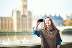 Tourist in London doing selfie Stock Image