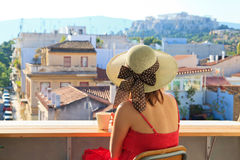 Tourist looking at Acropolis, Greece Royalty Free Stock Images