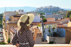 Tourist looking at Acropolis, Greece Stock Photography