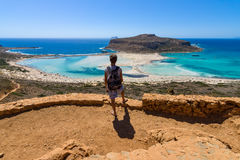 Tourist looking at Balos beach Royalty Free Stock Images