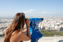 Tourist looking at cityscape Stock Photo