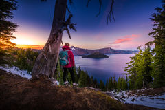 Tourist looking at Crater Lake Oregon Landscape Royalty Free Stock Images