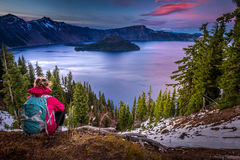 Tourist looking at Crater Lake Oregon Landscape Royalty Free Stock Photos