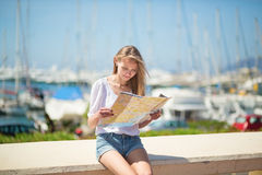 Tourist looking for direction in Cannes, France Royalty Free Stock Photos